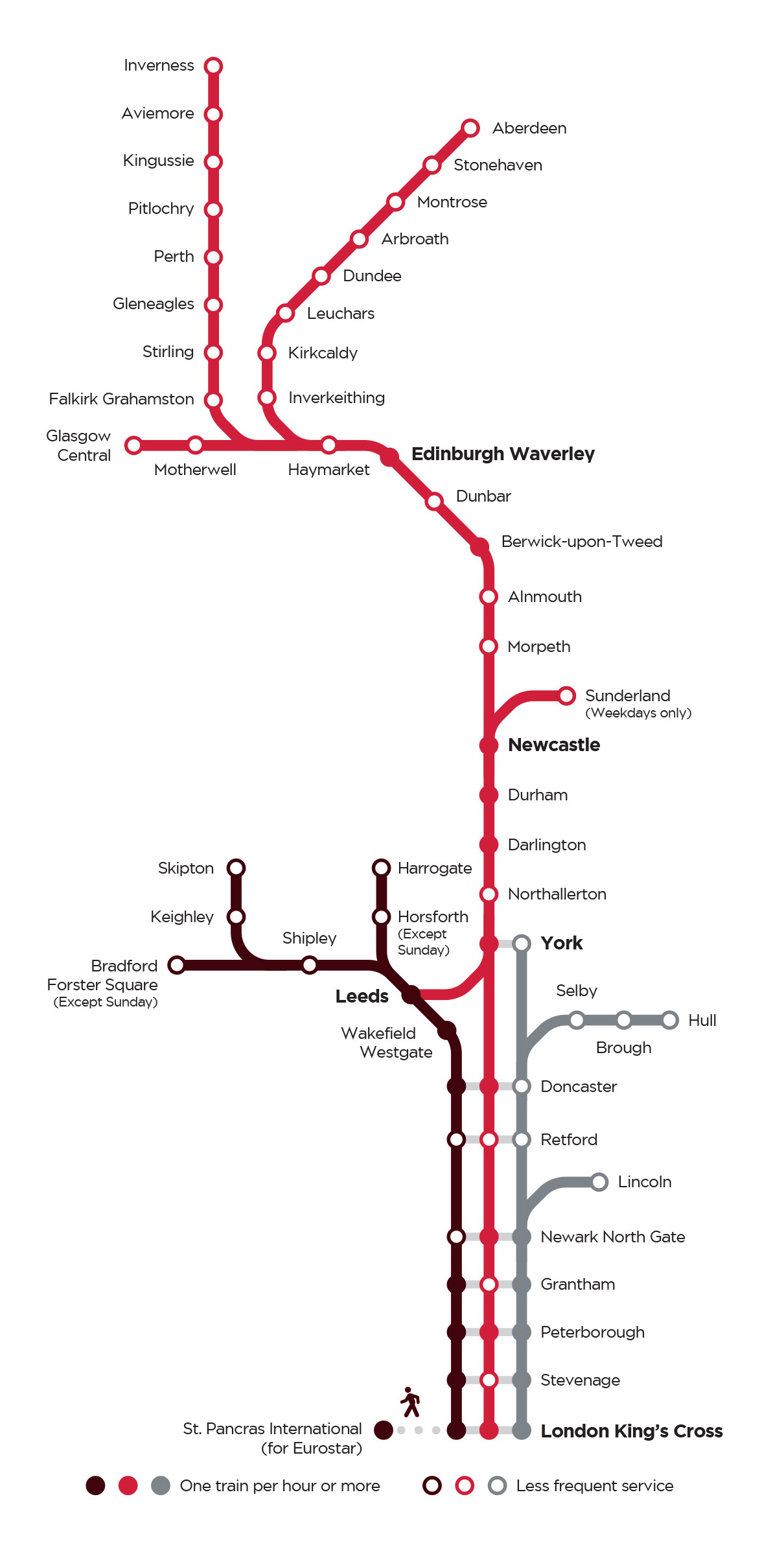 London Line Map.Lner Destinations Route Map Lner Formerly Virgin Trains East Coast
