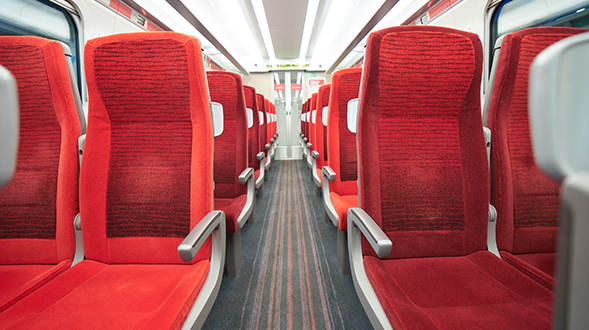 Empty Standard seats on an LNER Azuma